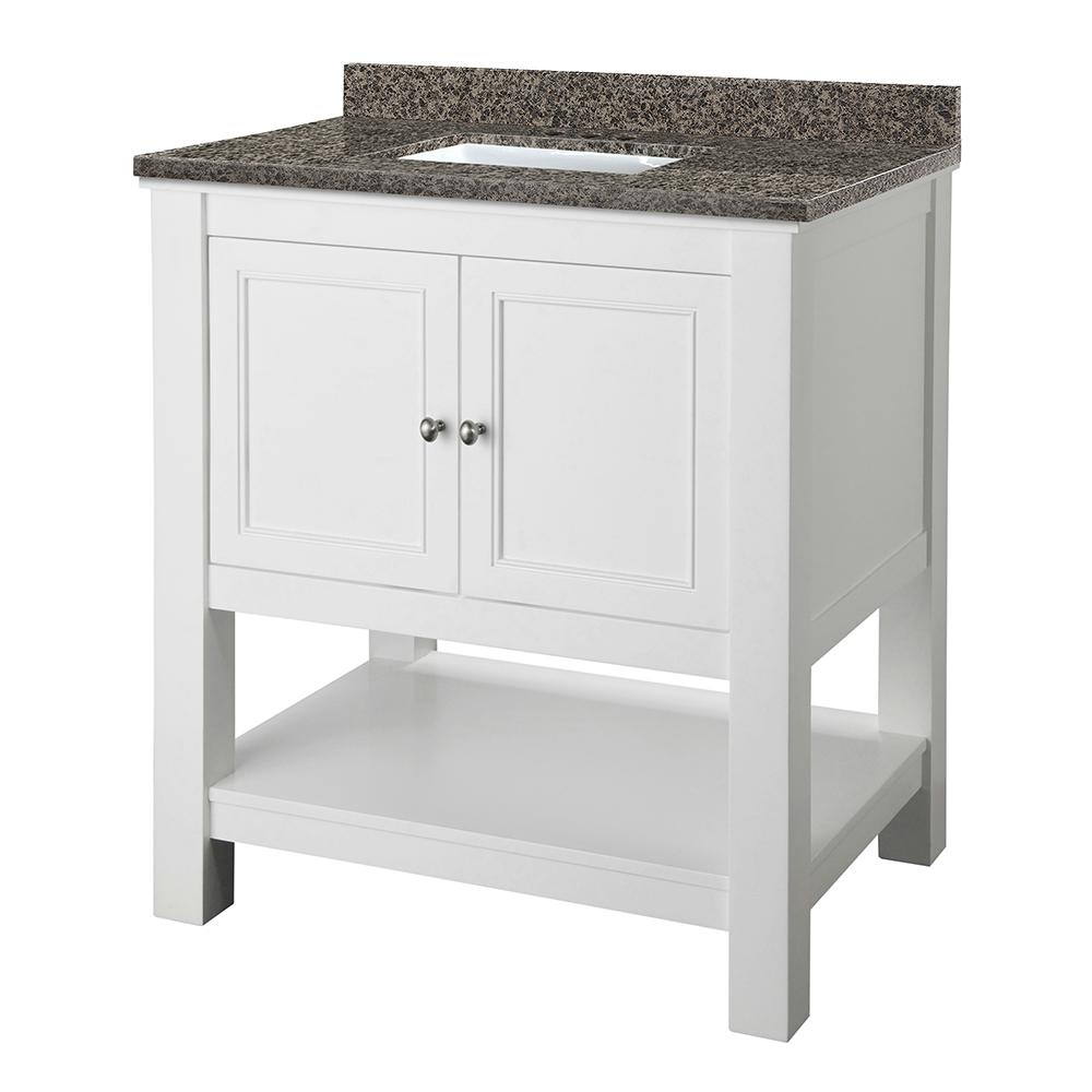 Home Decorators Collection Gazette 31 in. W x 22 in. D Vanity in White with Granite Vanity Top in Sircolo with White Sink