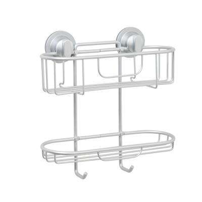 NeverRust Power Grip Pro Dual Mount Aluminum Two Tier Caddy in Satin Chrome