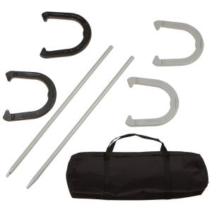 Premium Reinforced Carbon Steel Horseshoe Set in Black and Gray with Carry Bag
