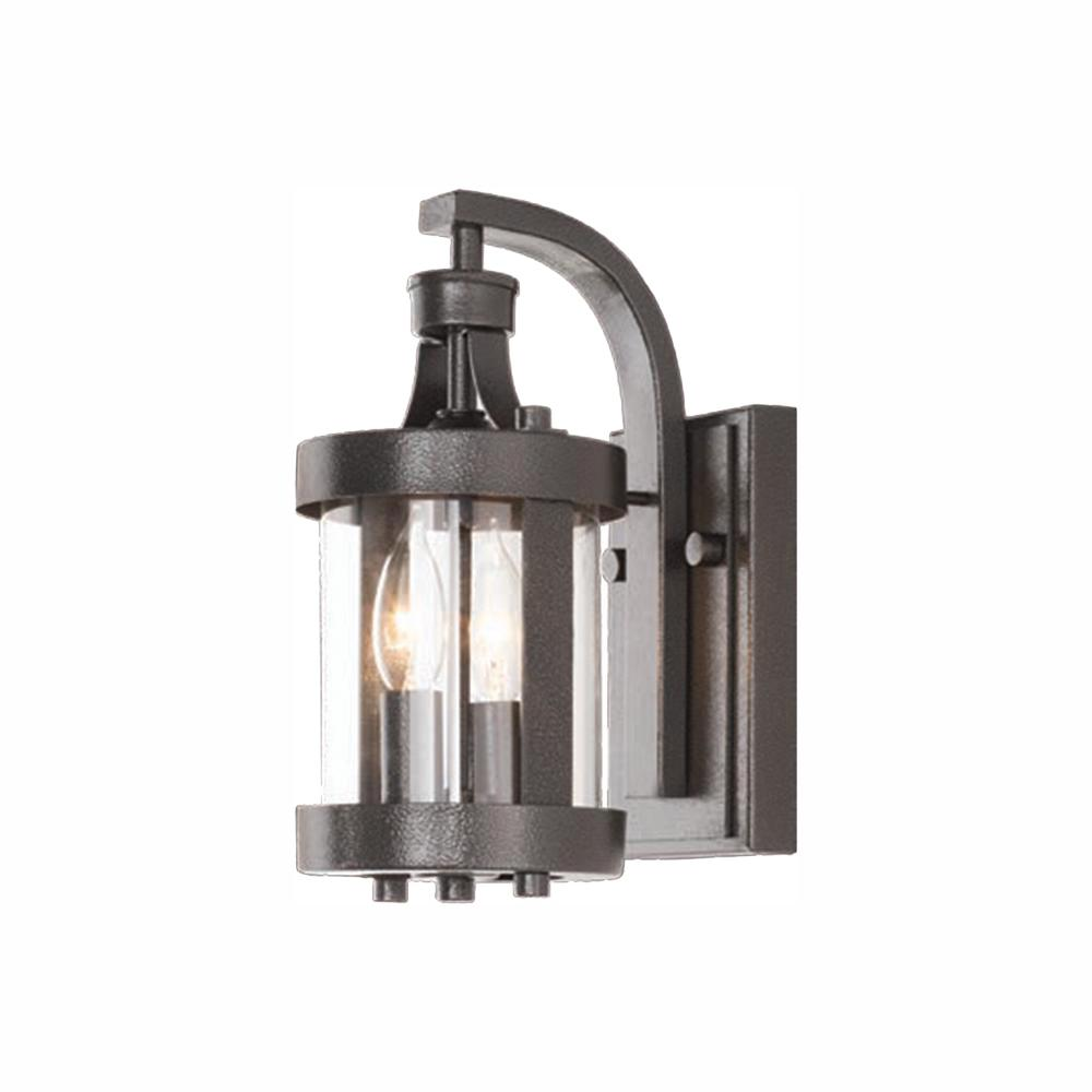 Home Decorators Collection Caged 2 Light Aged Iron Outdoor Wall Lantern Sconce