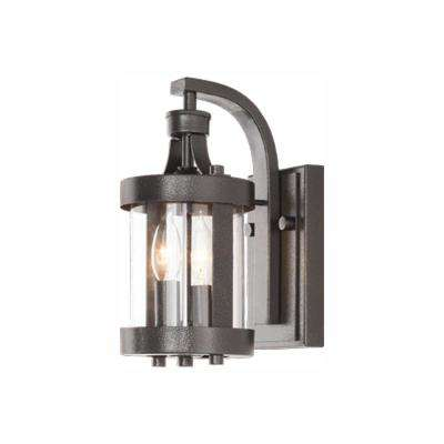 Caged 2-Light Aged Iron Outdoor Wall Lantern Sconce