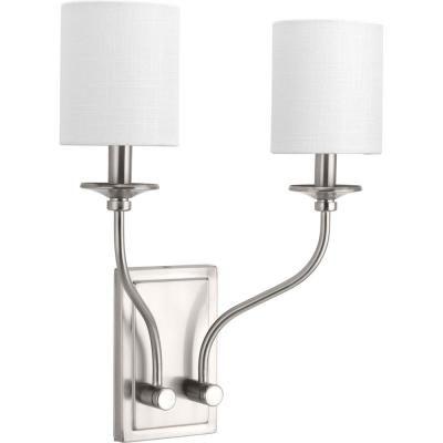 Bonita Collection 2-Light Brushed Nickel Wall Sconce with White Linen Shade