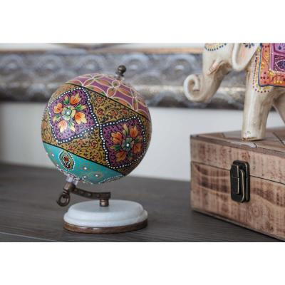 Litton Lane 7 in. x 5 in. Modern Decorative Globe in Magenta and Yellow, Multi