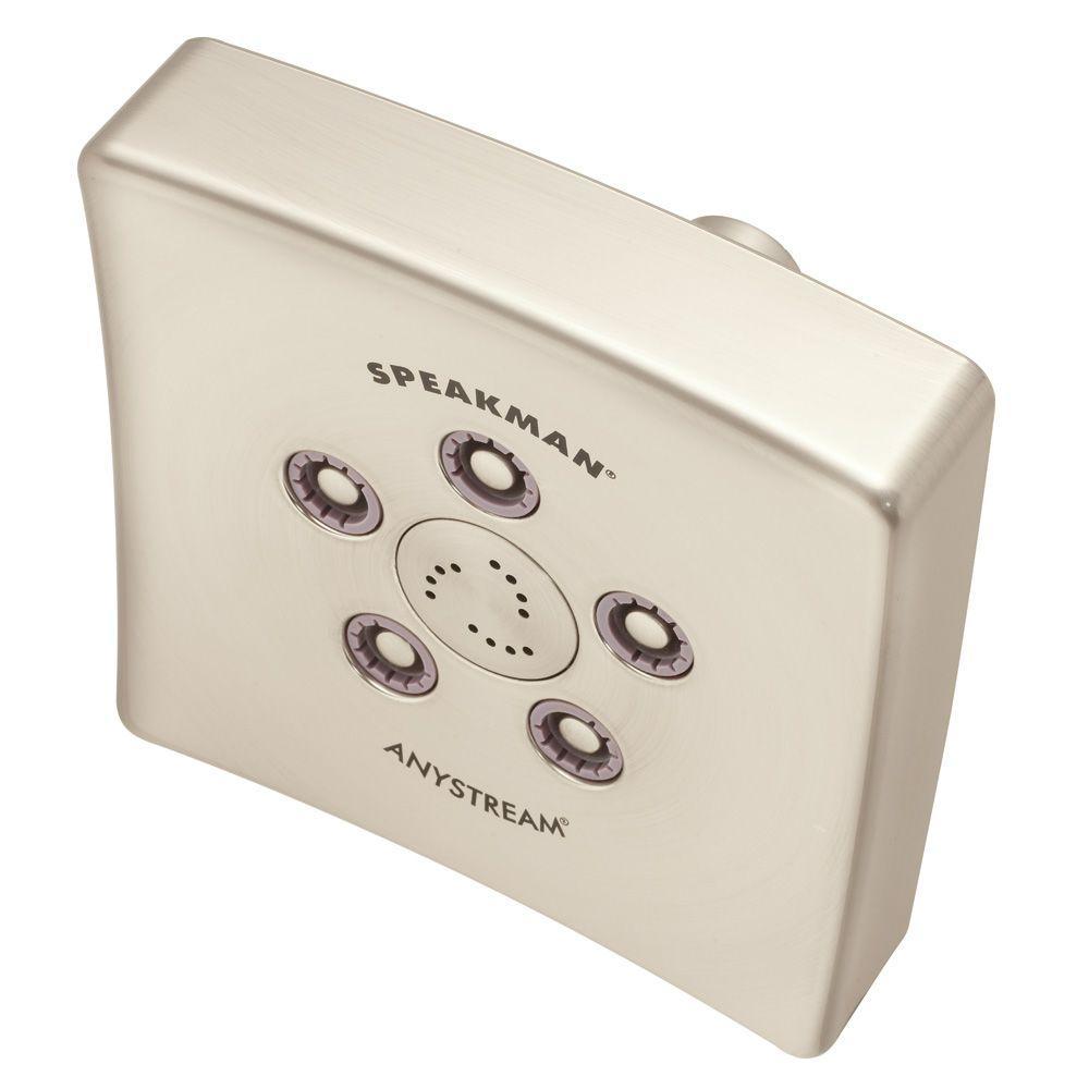 Speakman 3-Spray 5 in. Single Wall Mount Fixed Adjustable Shower Head in Brushed Nickel
