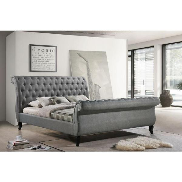 Luxeo Nottingham Gray King Sleigh Bed Lux K6317 Gry The