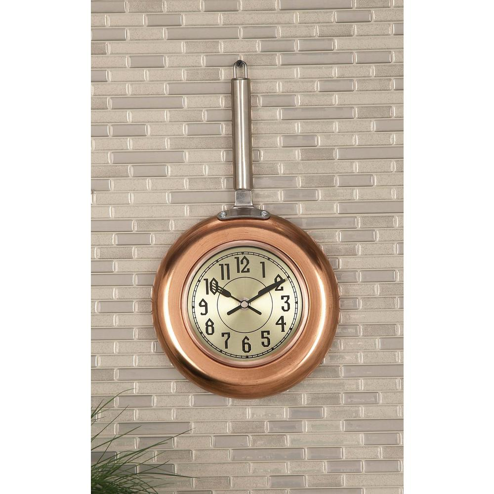 14 in. x 8 in. Modern Copper Frying Pan Wall Clock