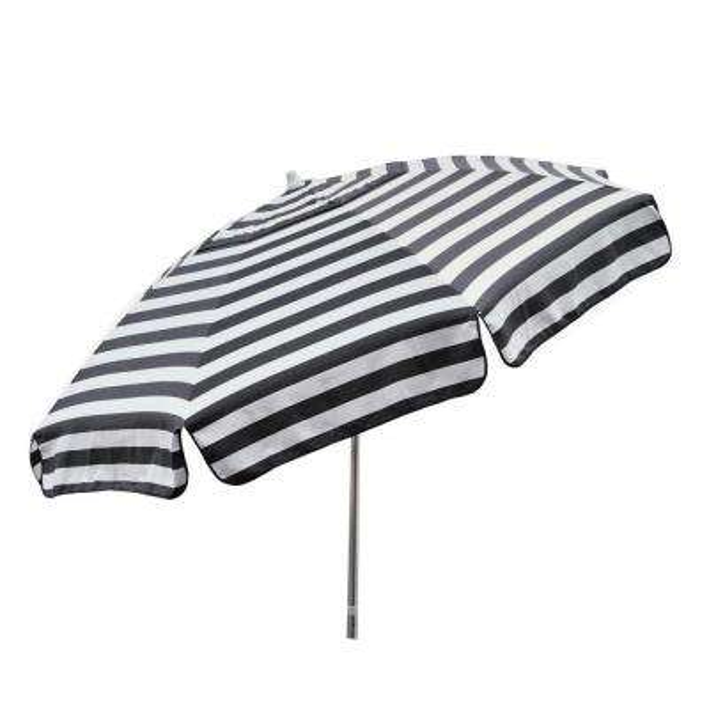 Italian 7.5 ft Aluminum Drape Tilt Patio Umbrella in Black and White Acrylic