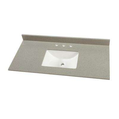 49 in. W x 22 in. D Engineered Quartz Vanity Top in Sterling Grey with White Single Trough Basin