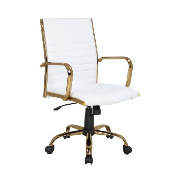 Lumisource Master Gold With White Faux Leather Adjustable Office Chair Oc Mstr Au W The Home Depot