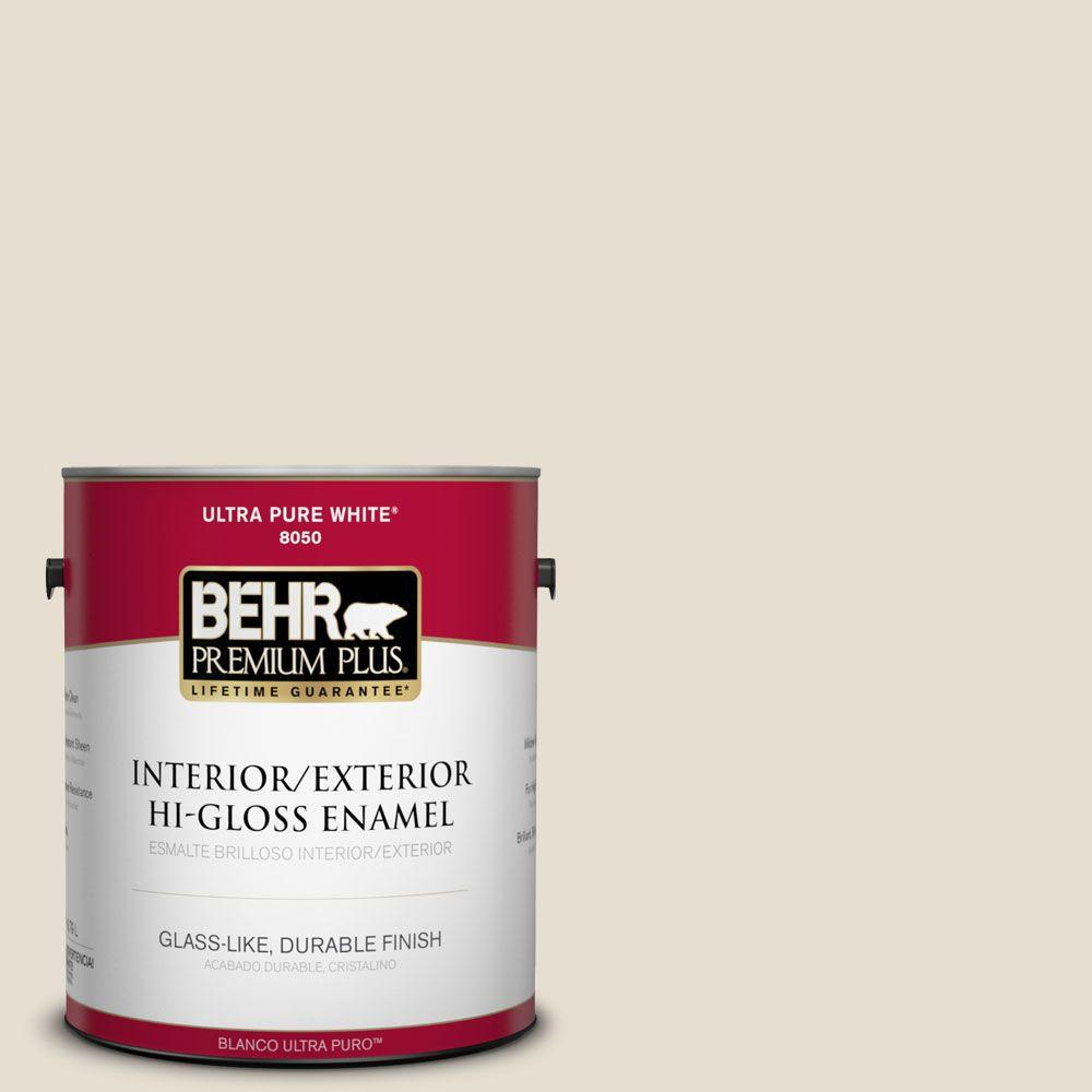 BEHR Premium Plus 1-gal. #750C-2 Hazelnut Cream Hi-Gloss Enamel Interior/Exterior Paint, Beige/Ivory