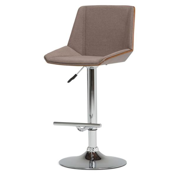 Simpli Home Tollson 44.1 in. Mocha Woven Fabric Bentwood Adjustable Height Gas Lift Bar Stool