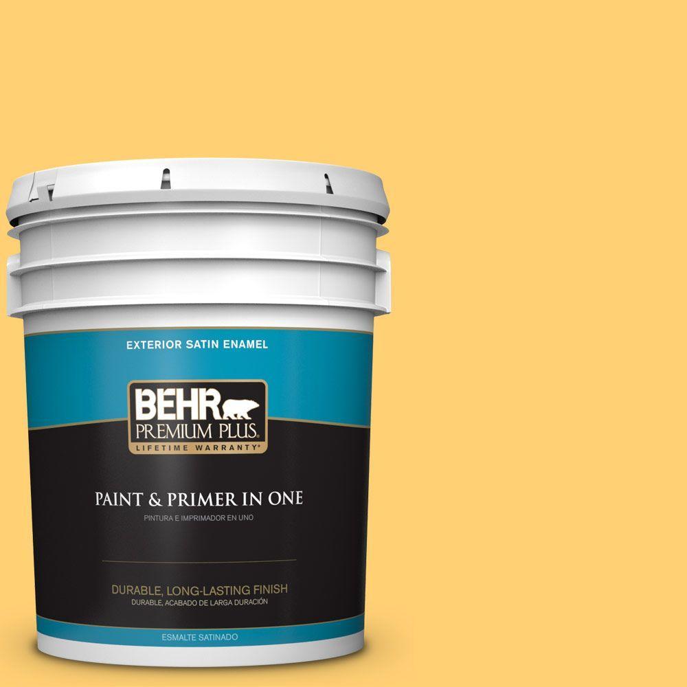 BEHR Premium Plus 5-gal. #320B-6 Mellow Yellow Satin Enamel Exterior Paint