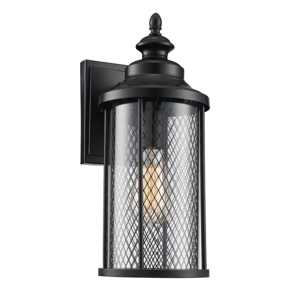 Stewart 1-Light Black 16 in. Outdoor Wall Mount Lantern with Mesh ...