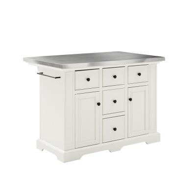 Julia White Kitchen Island with Towel Rack