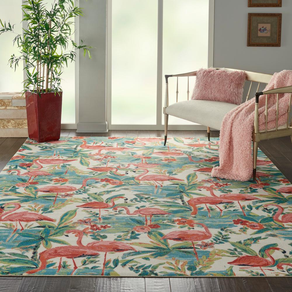 Sun N Shade Flamingo Multicolor 8 ft. x 11 ft. Floral Contemporary Area Rug