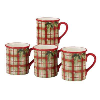 Holiday Wishes by Susan Winget Plaid 18 oz. Mug (Set of 4)