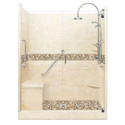 Roma Freedom Luxe Hinged 34 in. x 60 in. x 80 in. Center Drain Alcove Shower Kit in Desert Sand and Nickel Hardware