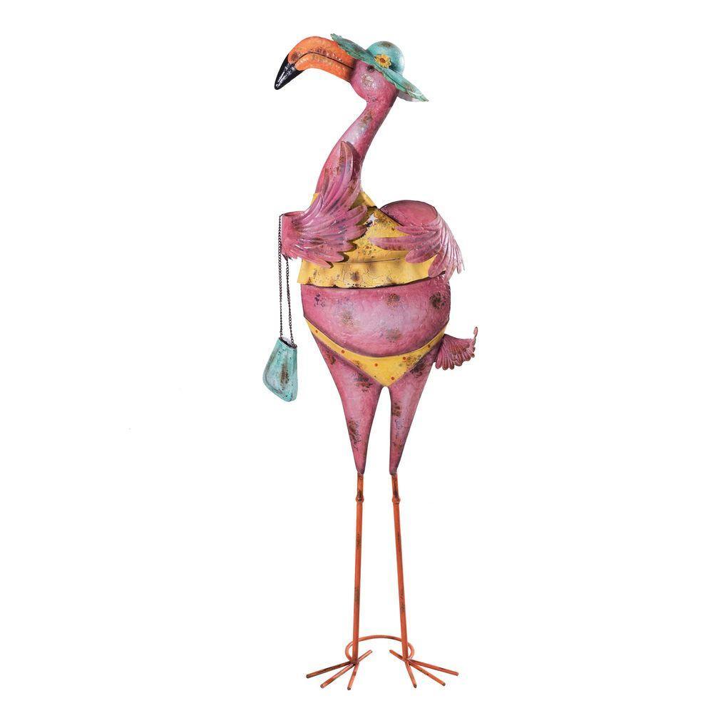 enjoyable home depot garden statues. Large Eccentric Bikini Clad Pink Flamingo with Purse Garden Statue Sunjoy  110309053 The Home Depot enjoyable Enjoyable Statues Design Plan