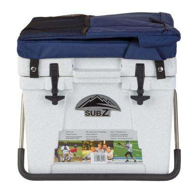 23 Qt. White and Blue Seat Hard Cooler with Removable Soft Cushioned Seat