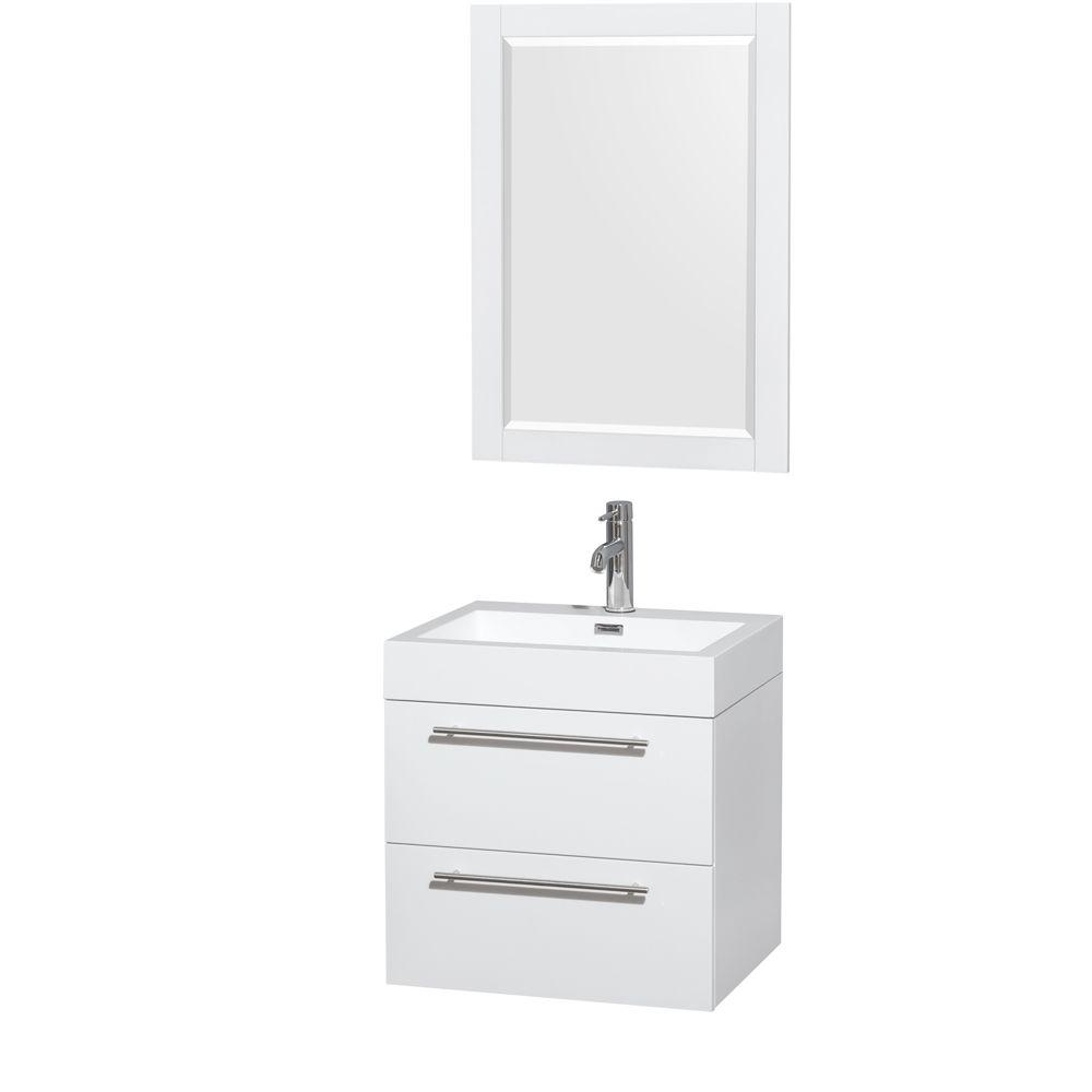 Wyndham Collection Amare 23 In Vanity In Glossy White With Acrylic