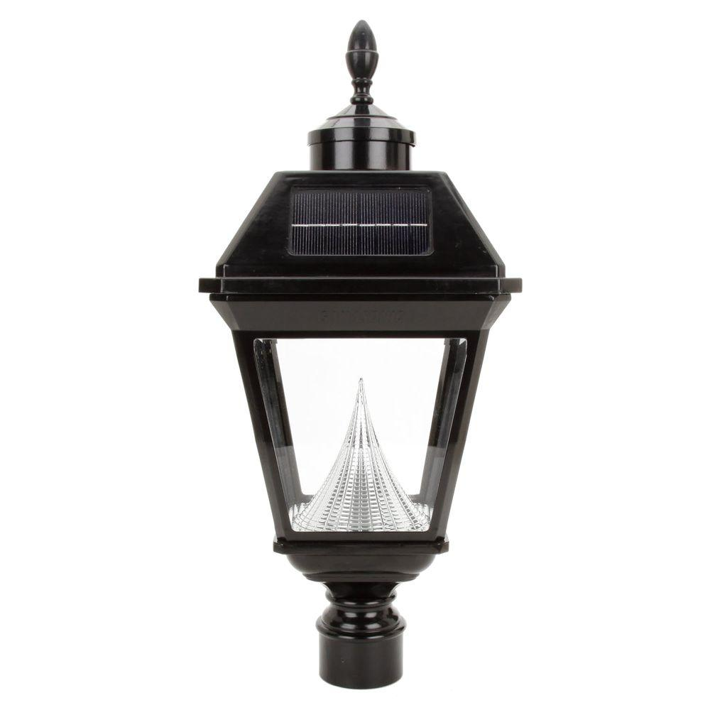 Gama Sonic Imperial Solar Black Outdoor LED Post Light on 3 in. Fitter Mount
