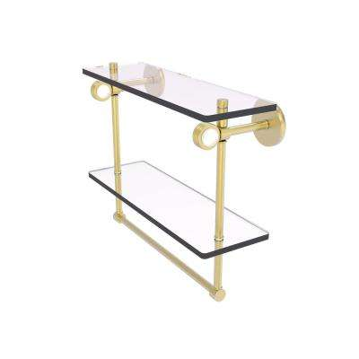 Clearview Collection 16 Inch Double Glass Shelf with Towel Bar and Groovy Accents in Satin Brass