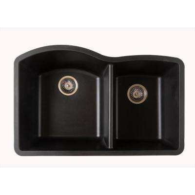 Titan Dual-Mount Quartz 32 in. 55/45 Double Bowl Kitchen Sink in Black with Strainer