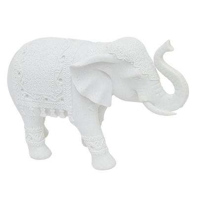 13 in. x 4.5 in. White Resin Elephant Tabletop Decoration in White