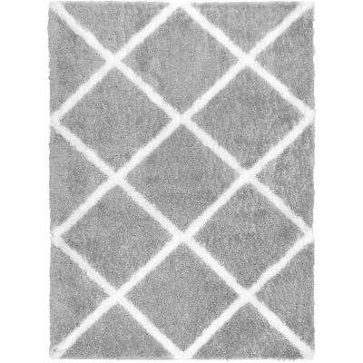 Carmela Gray/Ivory Trellis Shag 3 ft. x 4 ft. Indoor Area Rug