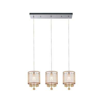 Radiant 3-Light Chrome Chandelier with Gold shade