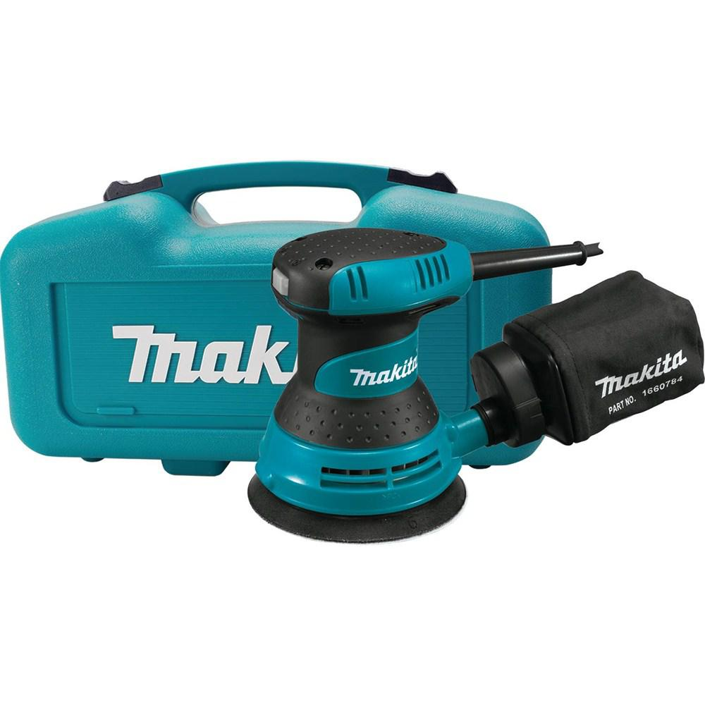 Makita 3 Amp 5 in. Corded Palm Grip Random Orbital Sander with Dust Bag, Hard Case