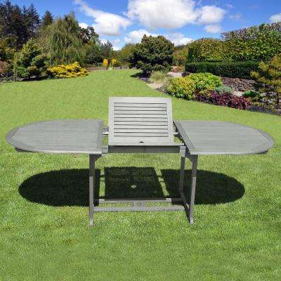 Renaissance Oval Wood Outdoor Dining Table with Extension