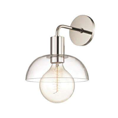Kyla 1-Light Polished Nickel Wall Sconce with Clear Glass