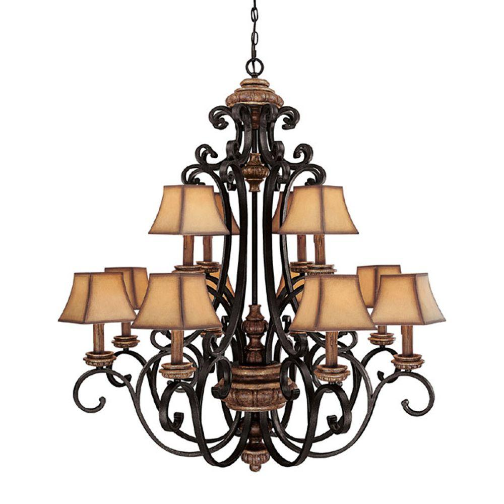 Filament Design 12-Light Iron and Umber Chandelier-DISCONTINUED