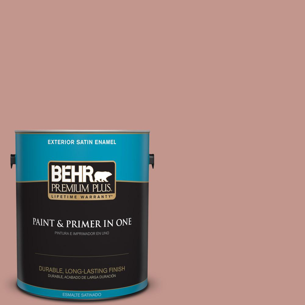 1 gal. #MQ1-18 Pressed Blossoms Satin Enamel Exterior Paint and Primer