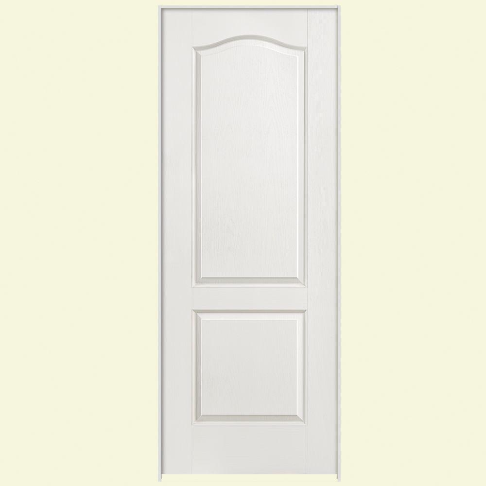 Masonite 32 in. x 80 in. 2-Panel Arch Top Right-Handed Hollow-Core Textured Primed Composite Single Prehung Interior Door