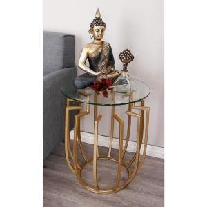 Internet #302584001. Null Metallic Gold Angled Design Side Table ...