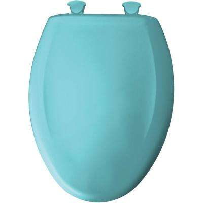Slow Close STA-TITE Elongated Closed Front Toilet Seat in Surf Green