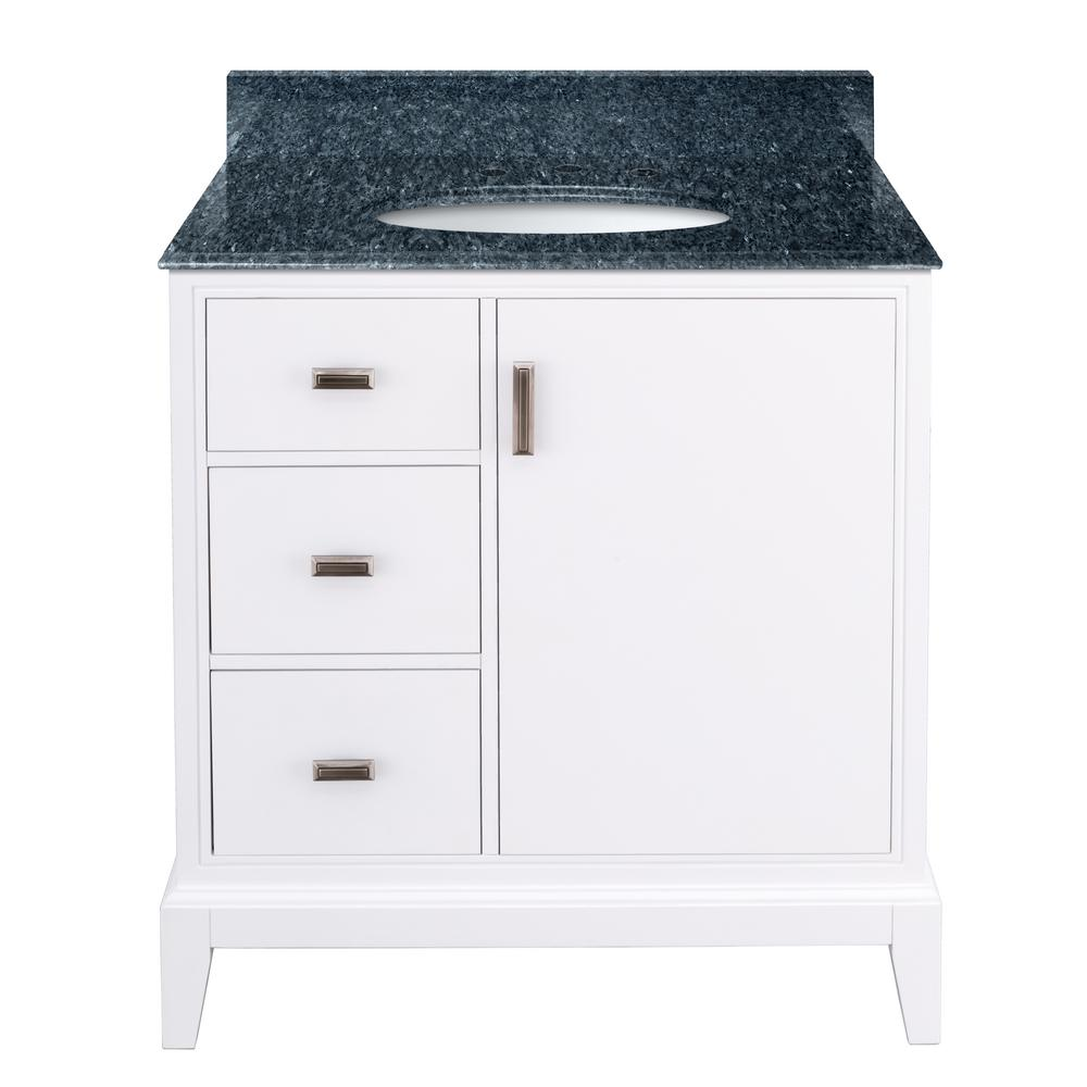 Home Decorators Collection Shaelyn 31 in. W x 22 in. D Bath Vanity in White LH Drawers with Granite Vanity Top in Blue Pearl with White Sink