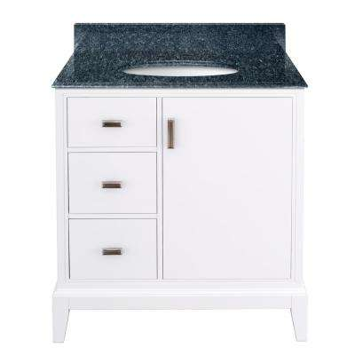 Shaelyn 31 in. W x 22 in. D Bath Vanity in White LH Drawers with Granite Vanity Top in Blue Pearl with White Sink