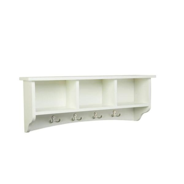 14 in. Shaker Cottage Coat 8-Hooks with Storage in Ivory