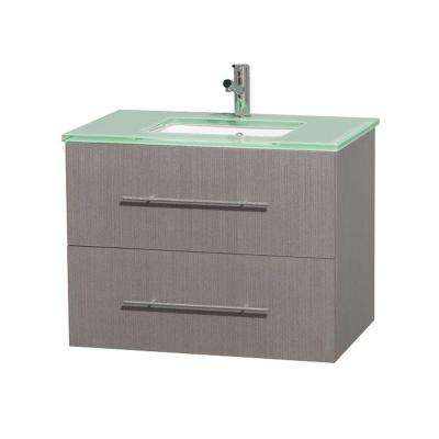 Centra 30 in. Vanity in Gray Oak with Glass Vanity Top in Green and Undermount Sink