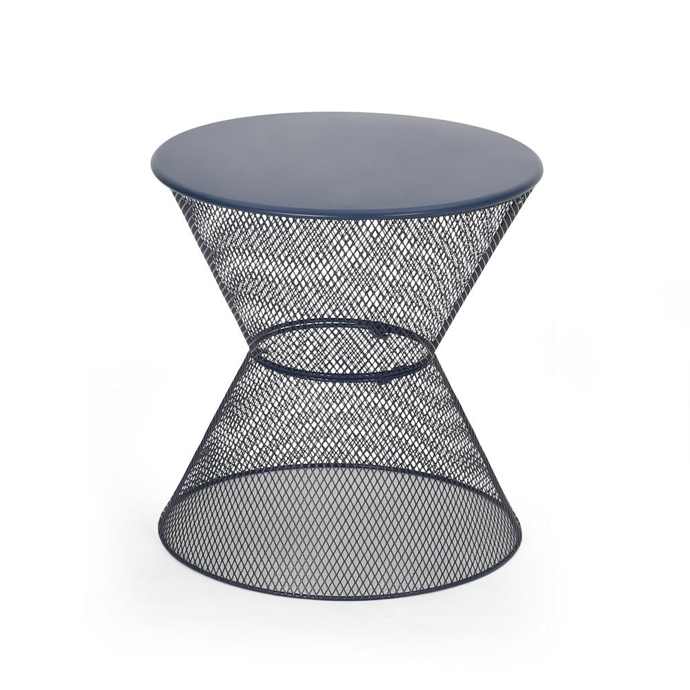 Nevada 18.25 in. Matte Navy Blue Round Metal Outdoor Side Table