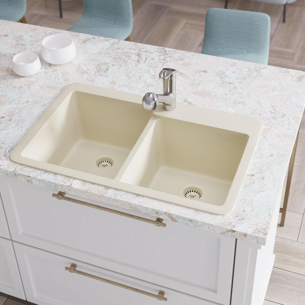 Drop-In Composite Granite 33 in. Offset Double Bowl Kitchen Sink in Ecru