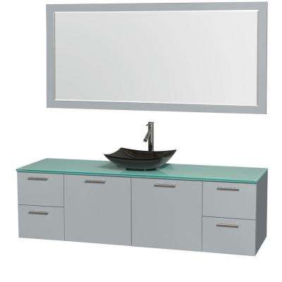 Amare 72 in. W x 22 in. D Vanity in Dove Gray with Glass Vanity Top in Green with Black Basin and 70 in. Mirror