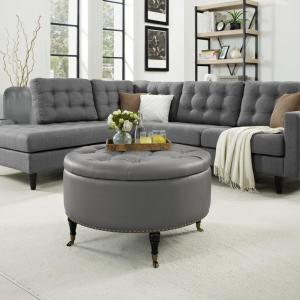 Nicole Miller Matsuori Grey Chrome Pu Leather Cocktail Ottoman