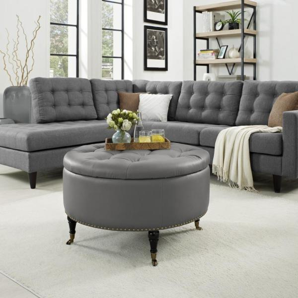 Inspired Home Renata Grey/Gold PU Leather Tufted Nailhead Trim Round Cocktail