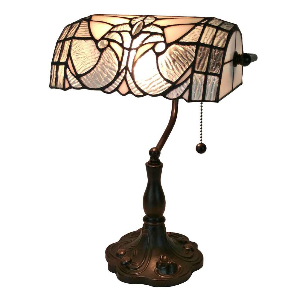 13 in. Multicolored Tiffany Style Floral Banker Table Lamp