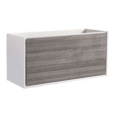 Catania 48 in. Modern Wall Hung Bath Vanity Cabinet Only in Glossy Ash Gray