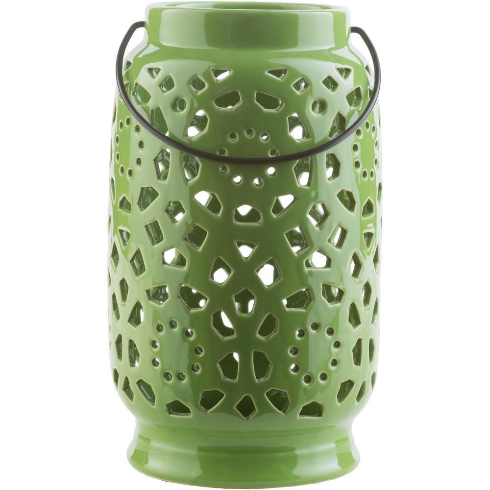 Kimba 11 in. Grass Green Ceramic Lantern